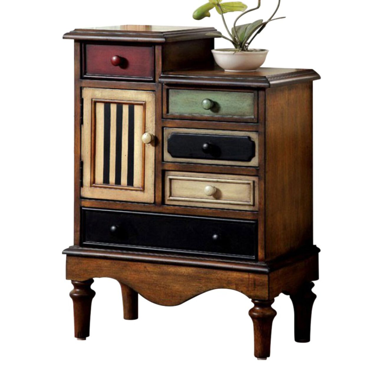 Vintage Style Accent Chest With 5 Drawers, Walnut Brown