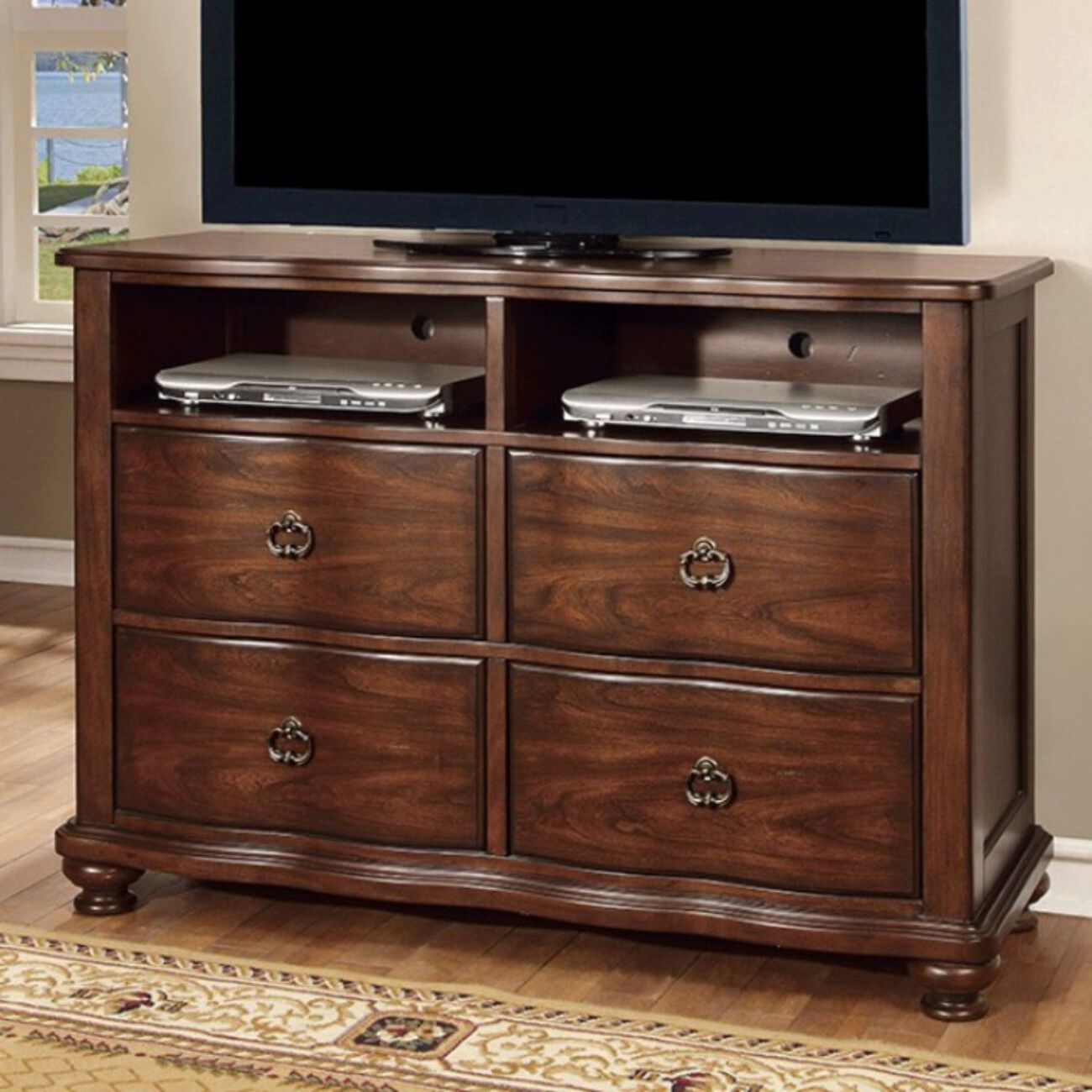 Rectangular Wooden TV stand with 3 Drawers and Open Shelf, Black