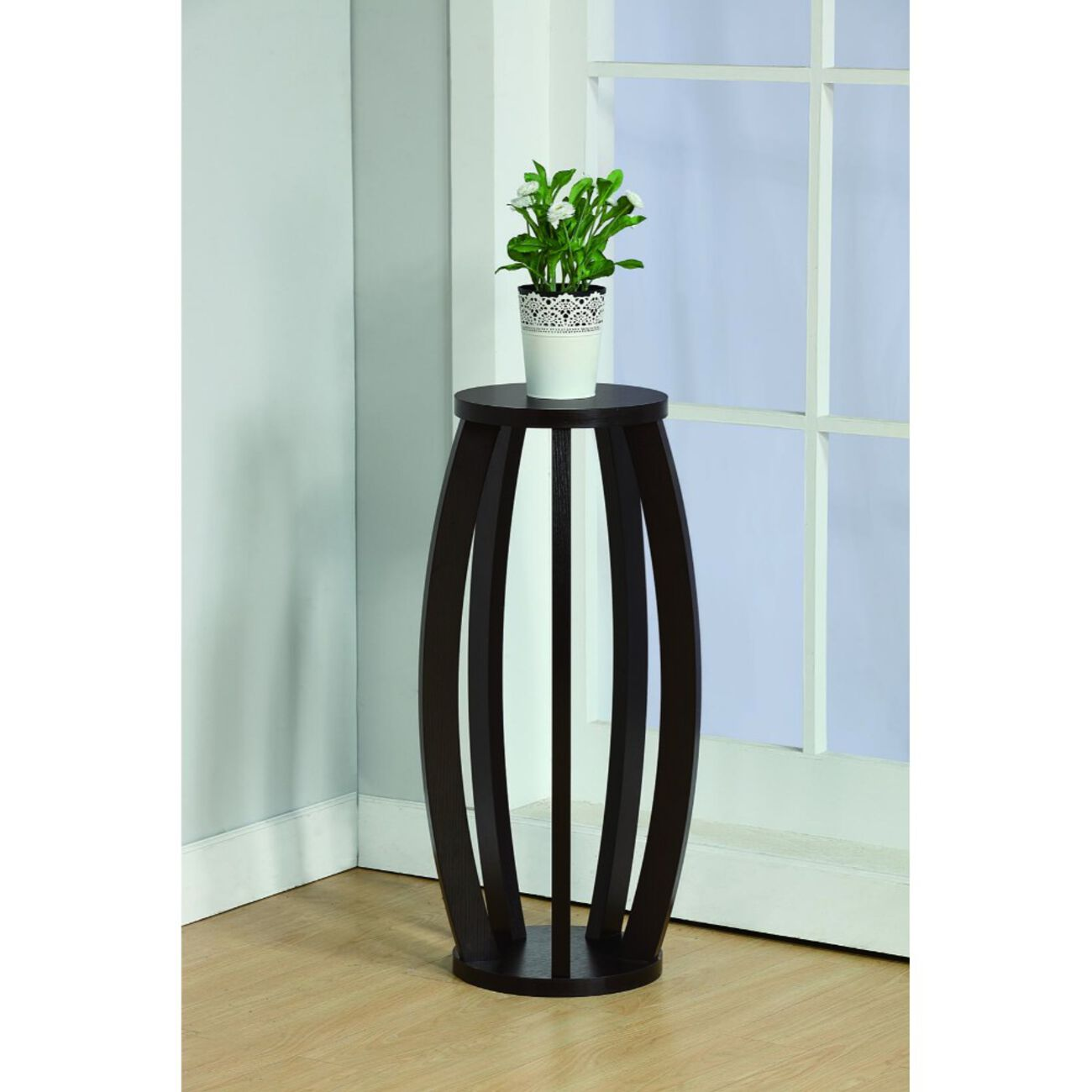 Modern Plant Stand With Curve Legs, Brown