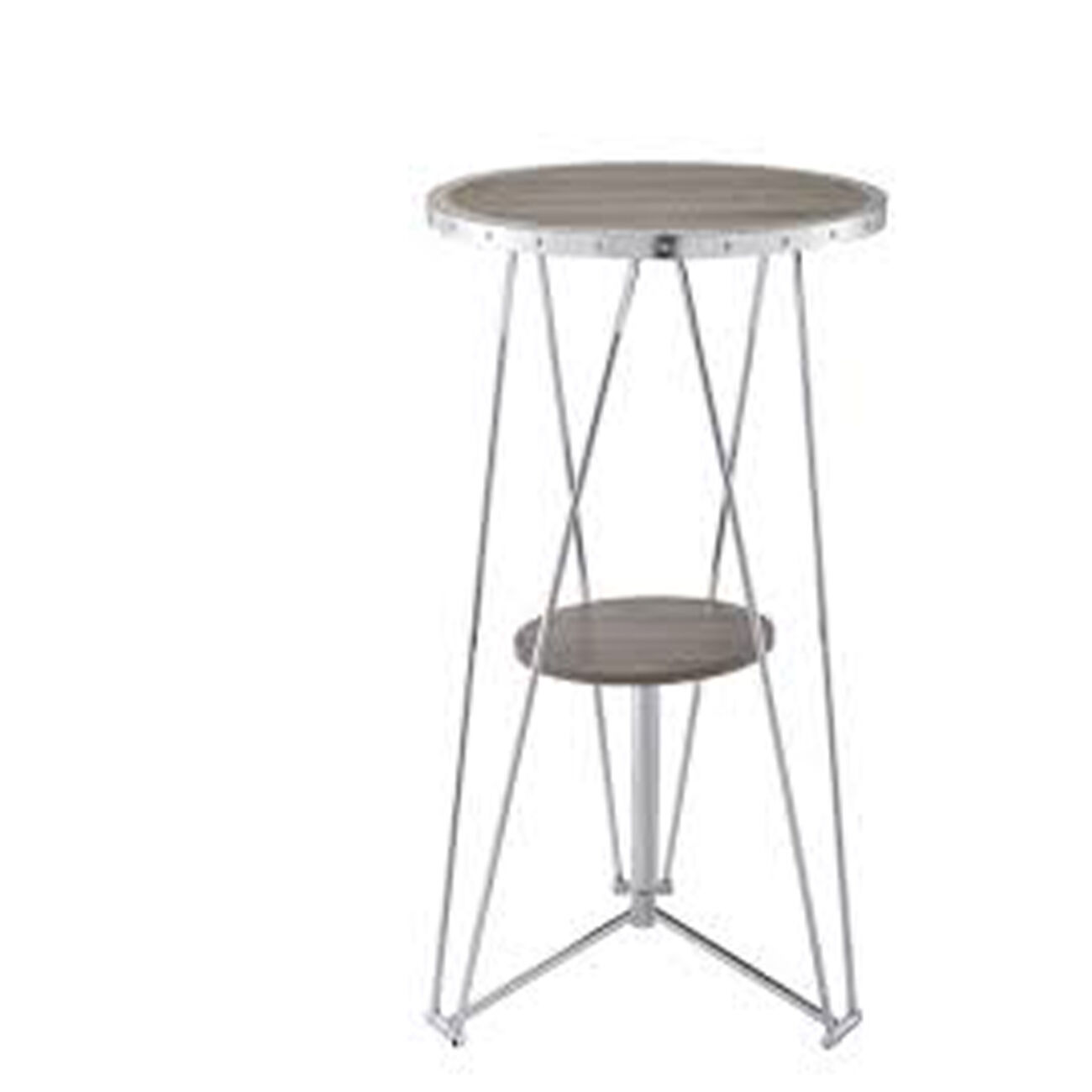 Modern Bar Table, Gray Oak & Chrome Silver