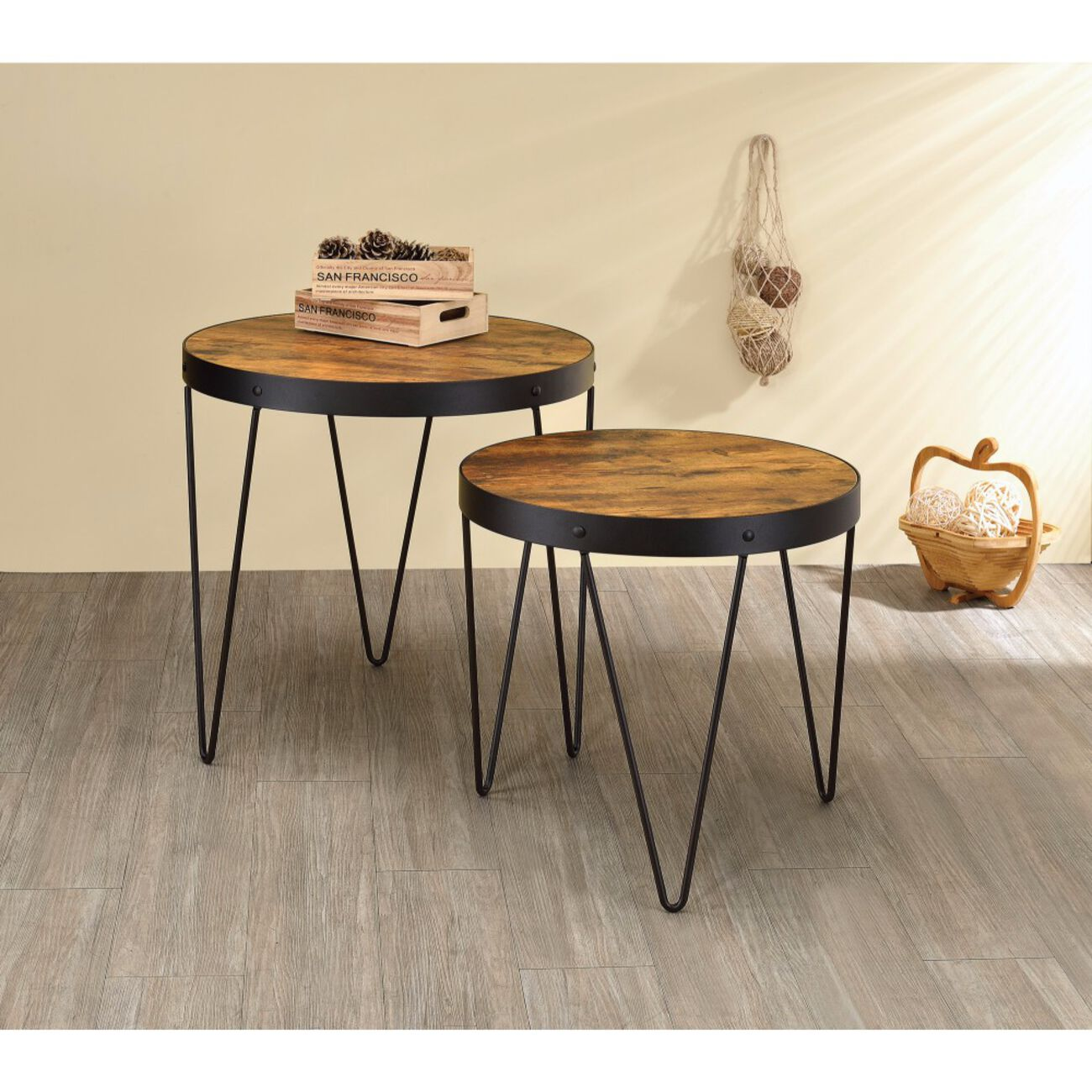 Set Of 2 Round Metal Table With Wood Top, Brown & Black