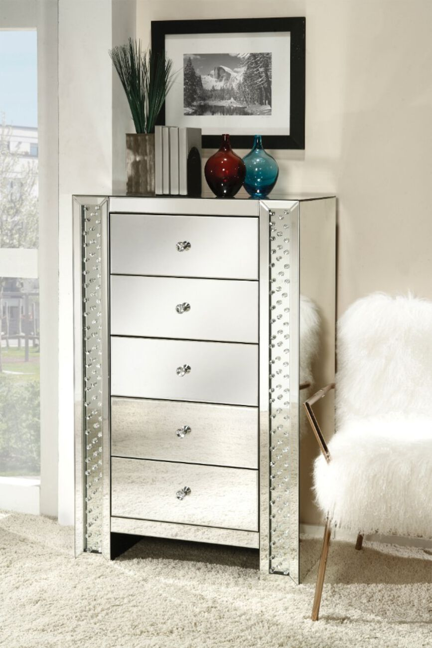 Mirrored Chest With 5 drawers, Mirror