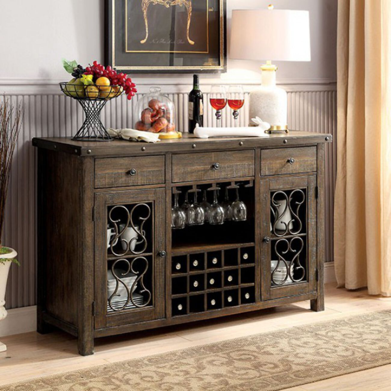 Wooden Server with Wine Holder, Brown
