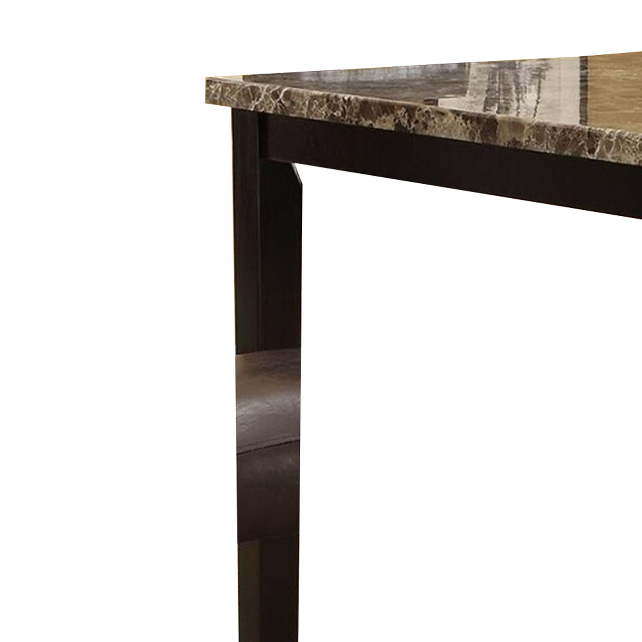 Wooden High Table Faux Marble Top, Brown