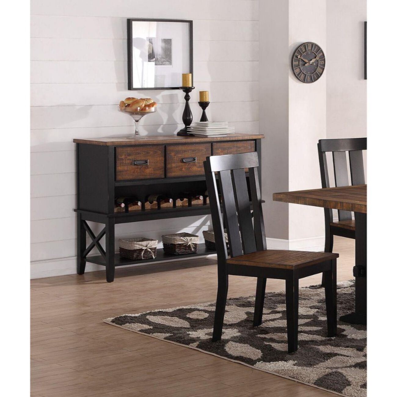 Dual Tone Rubber Wood Server With Spacious Storages Black and Brown