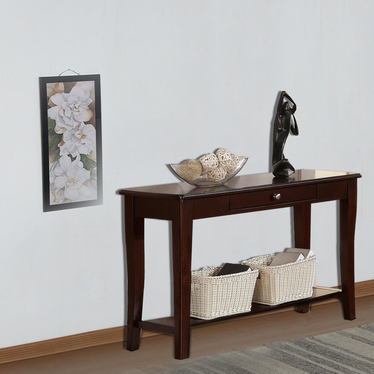 Wooden Console Table With One Drawers Brown