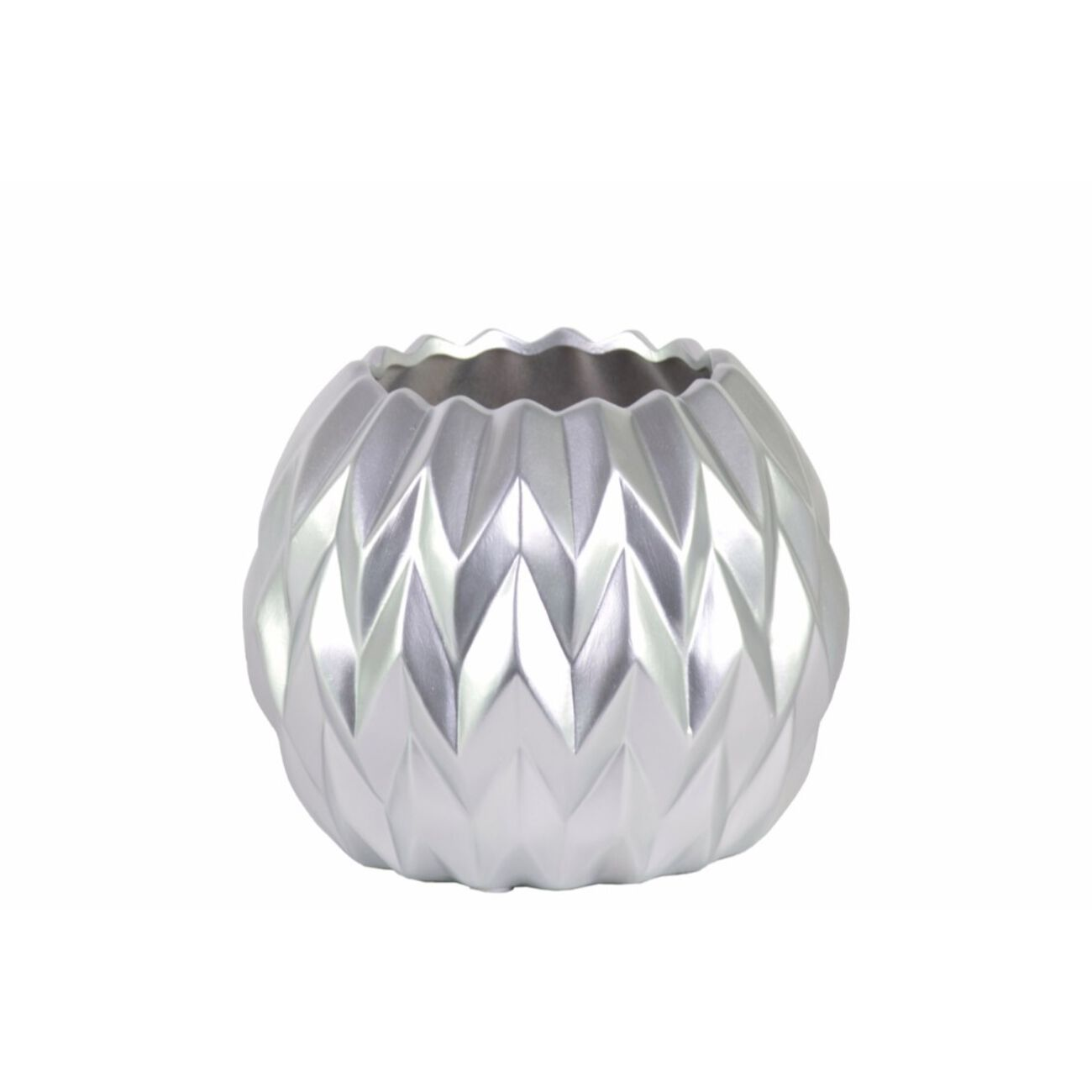 Round Low Vase with Uneven Lip, Wave Design- Small- Silver- Benzara