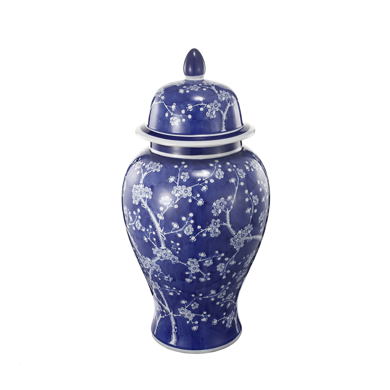 Well- Designed Flowers Ginger Jar In Blue and White