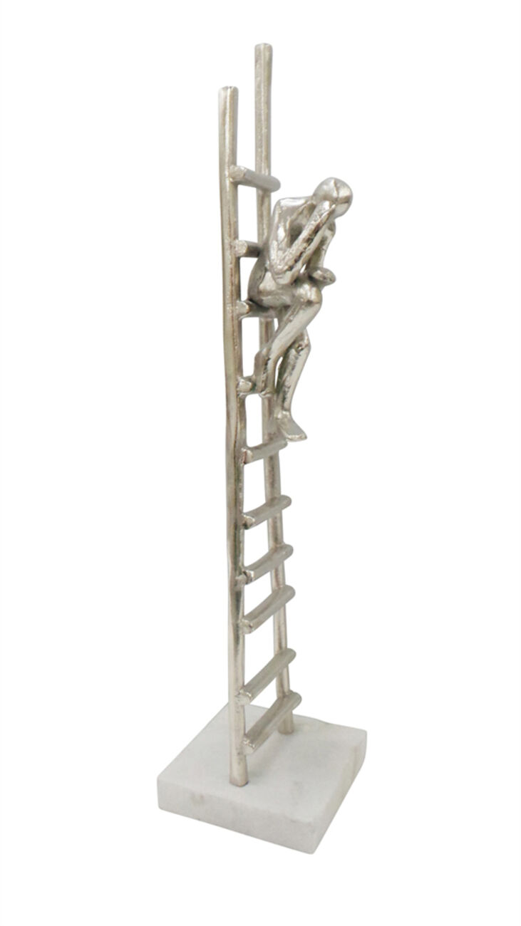 Man Sitting On Ladder Metal Figurine On Marble Base, Silver