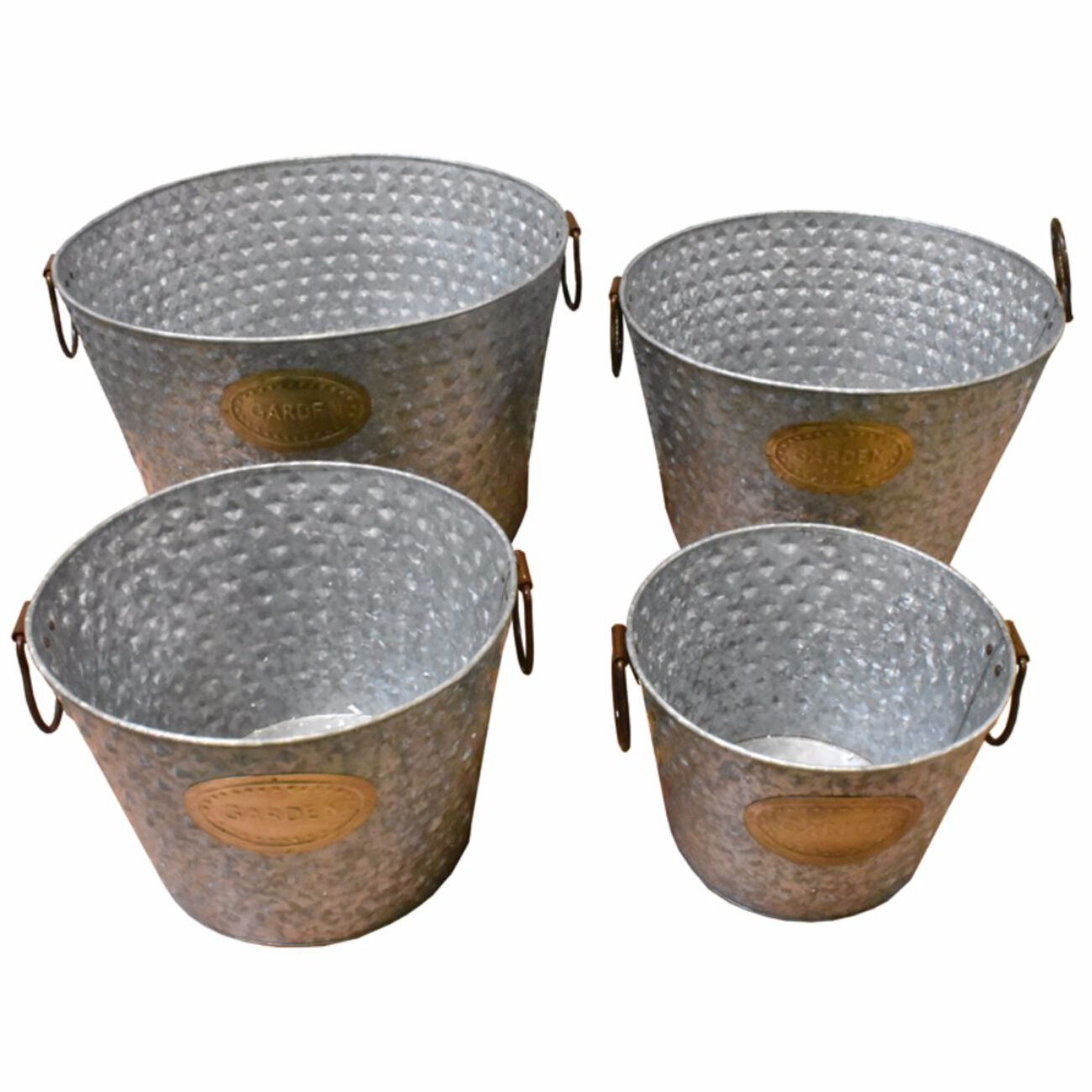 Old-Style Metal tub With Handle, Copper, Set Of 4