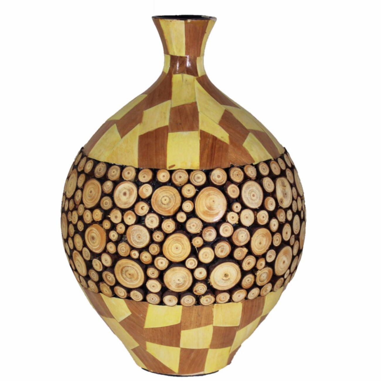 Ceramic/Wood Encrusted Vase, Multicolor