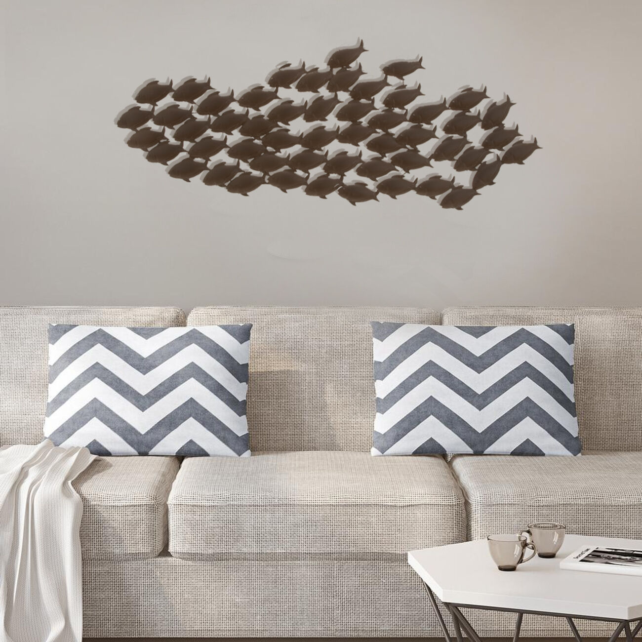 Attractive Metal Fish WallDecor In Bronze