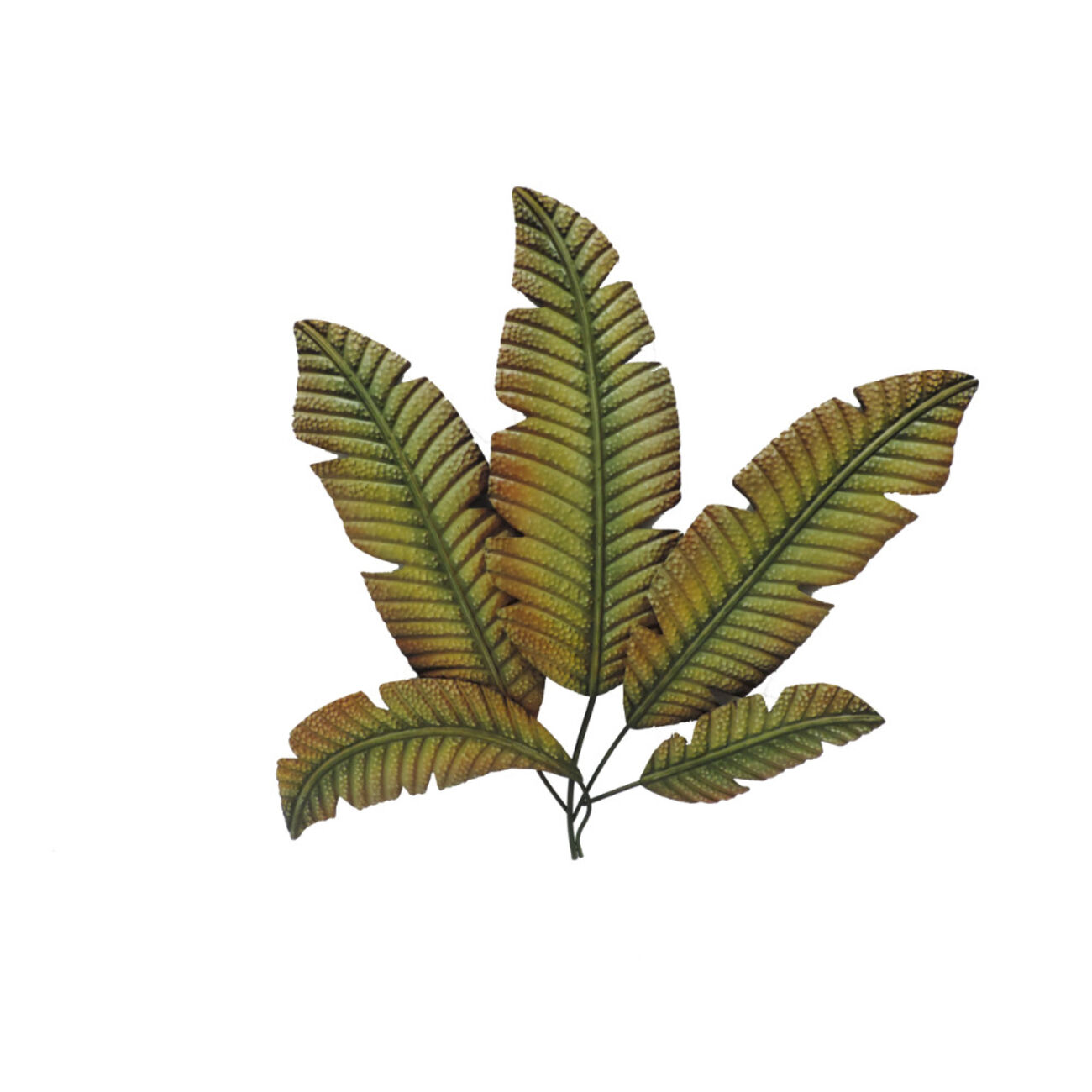 Metal Palm Tree Leaves Wall Decoration, Green and Brown