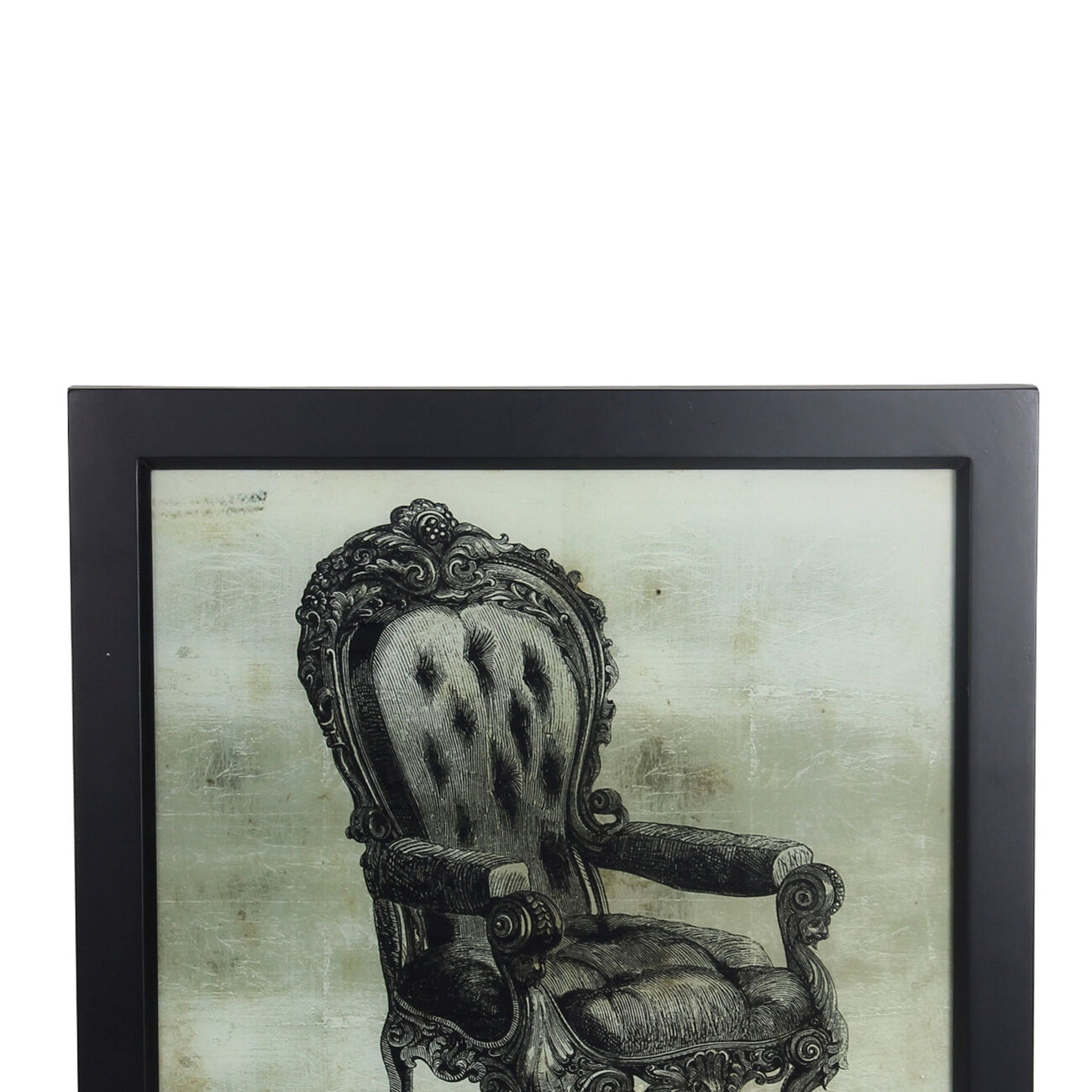 Square Shaped Vintage Chair Wall Art with Wooden Frame, Gray and Black