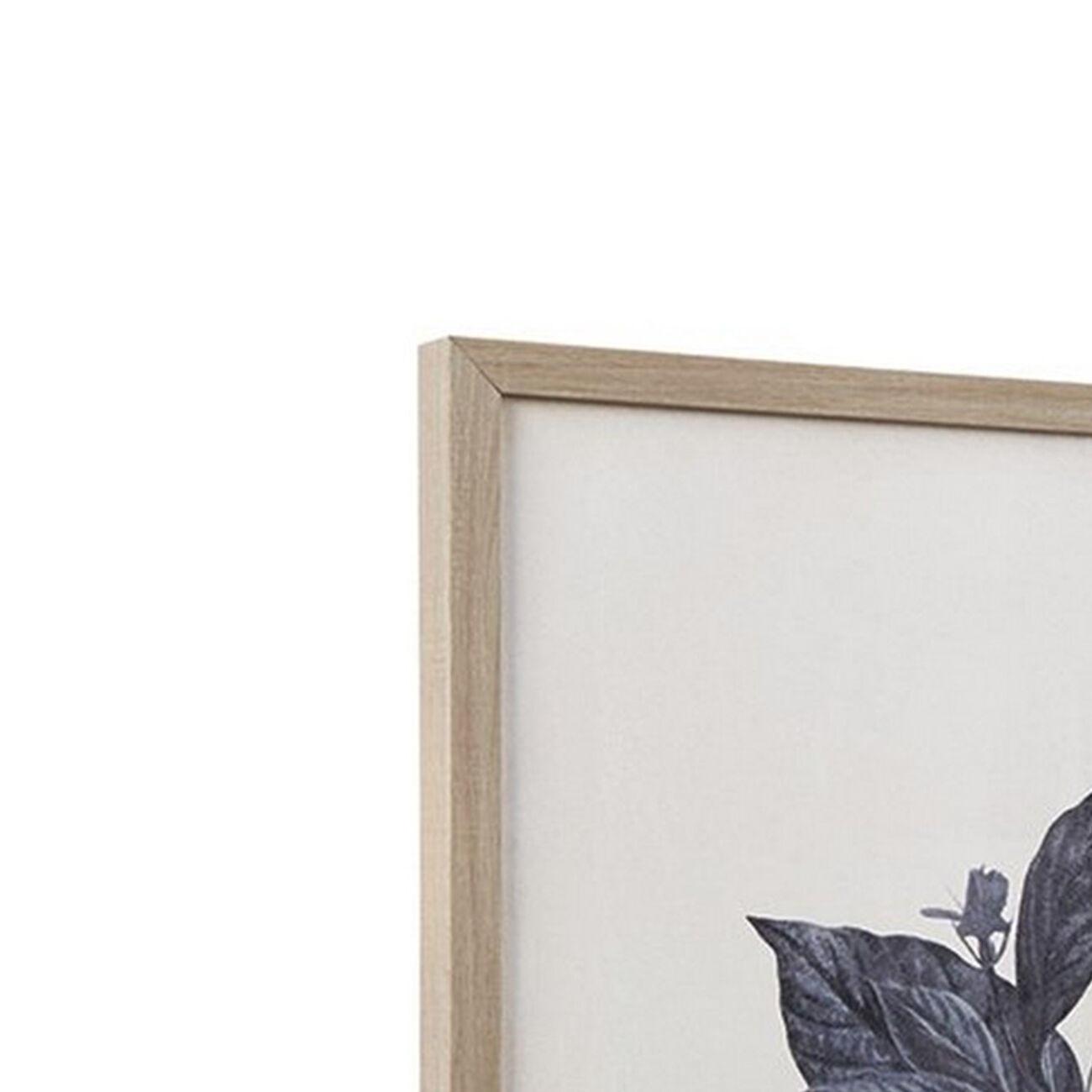 Wooden Wall Art with Painted Botanical Flowers, Set of 2, Brown and Blue