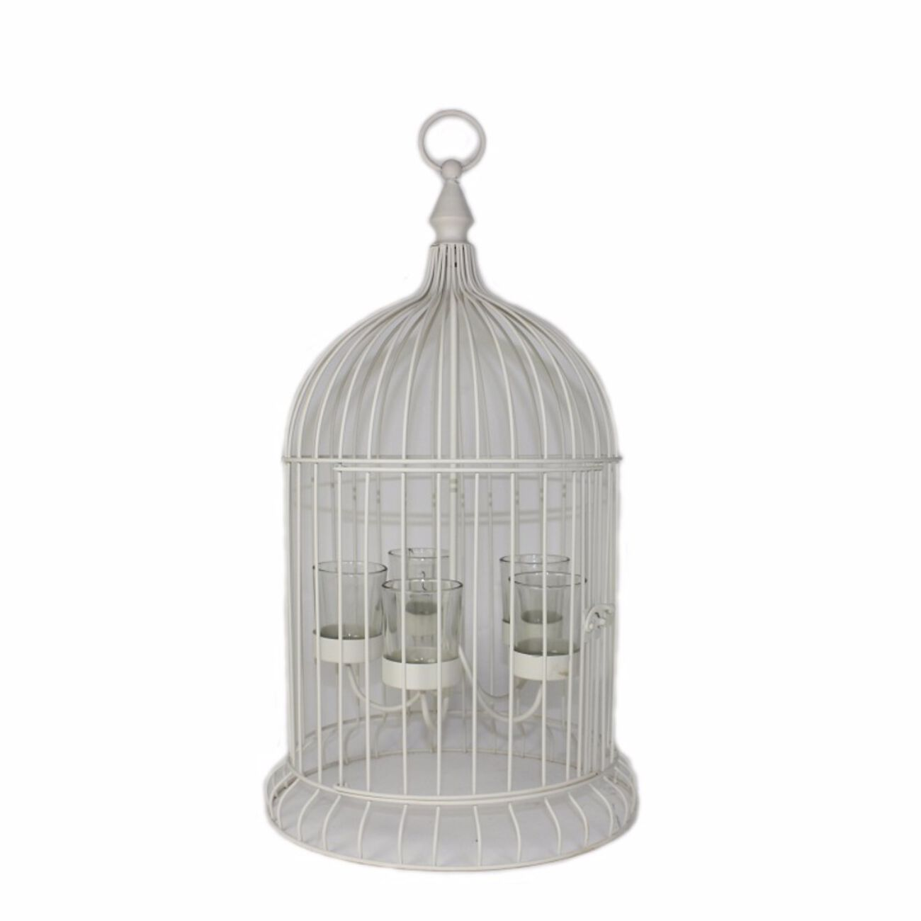 Metal Bird Cage Candle Holder, Off White