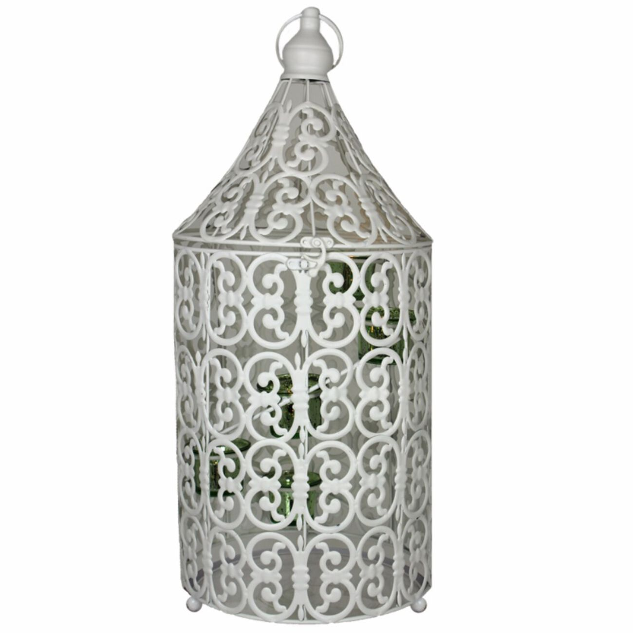 Metal Bird Caged Lantern,White/Blue