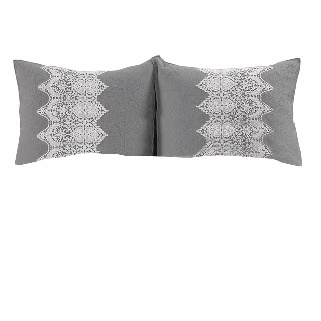2 Piece Twin Size Quilt Set with Lace Embellishment, White and Gray