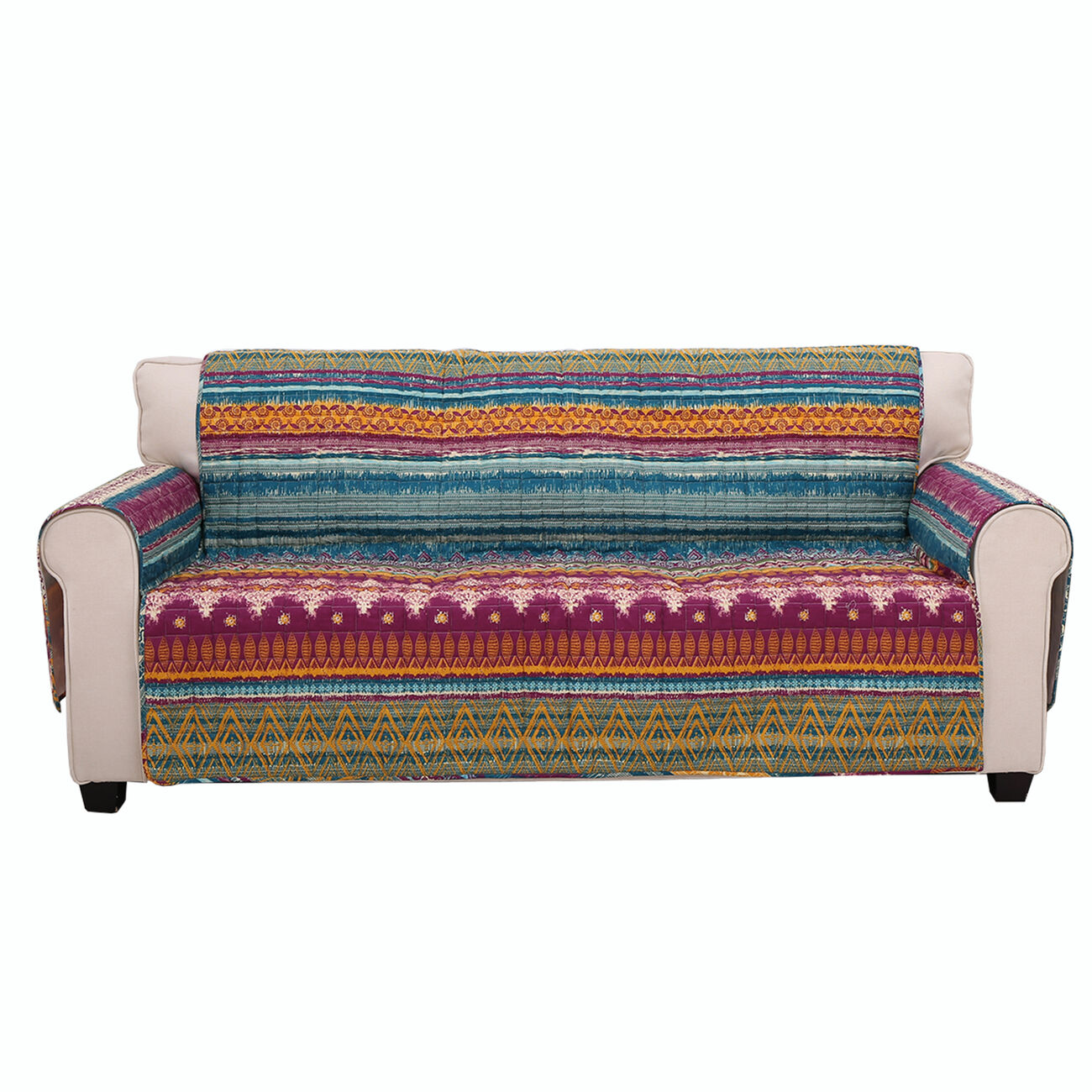 Polyester Sofa Protector with Tribal Print, Multicolor