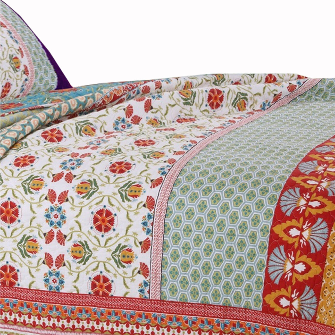 Geometric and Floral Print Full Size Quilt Set with 2 Shams, Multicolor