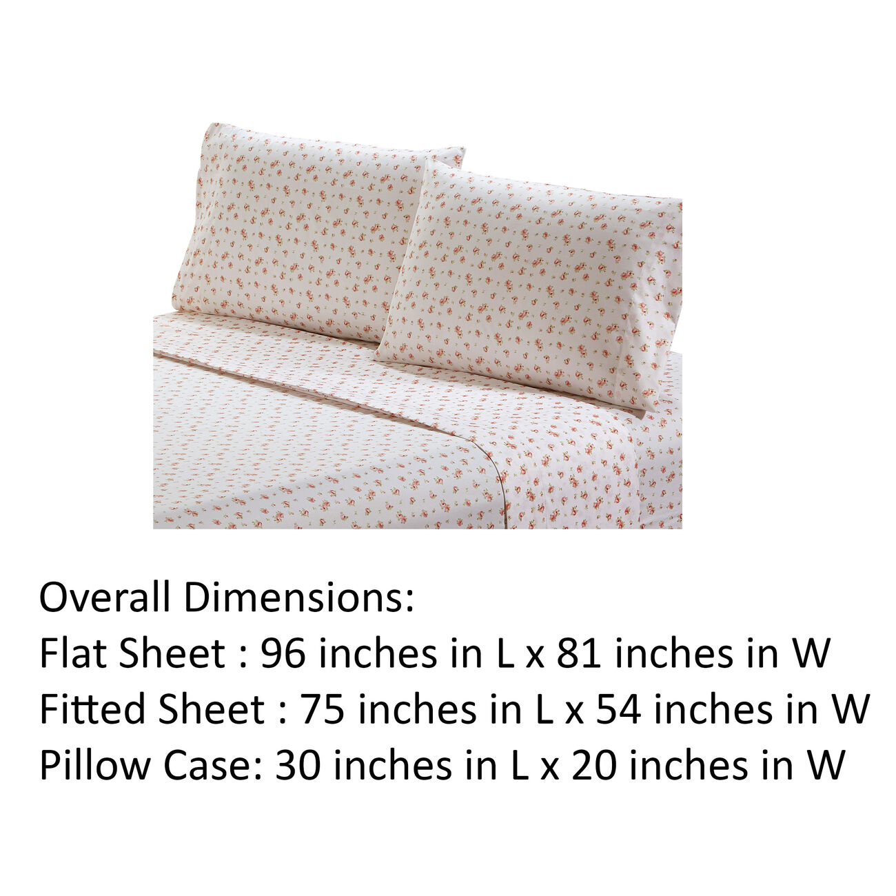 Melun 4 Piece Full Size Sheet Set with Rose Sketch The Urban Port, Pink and White