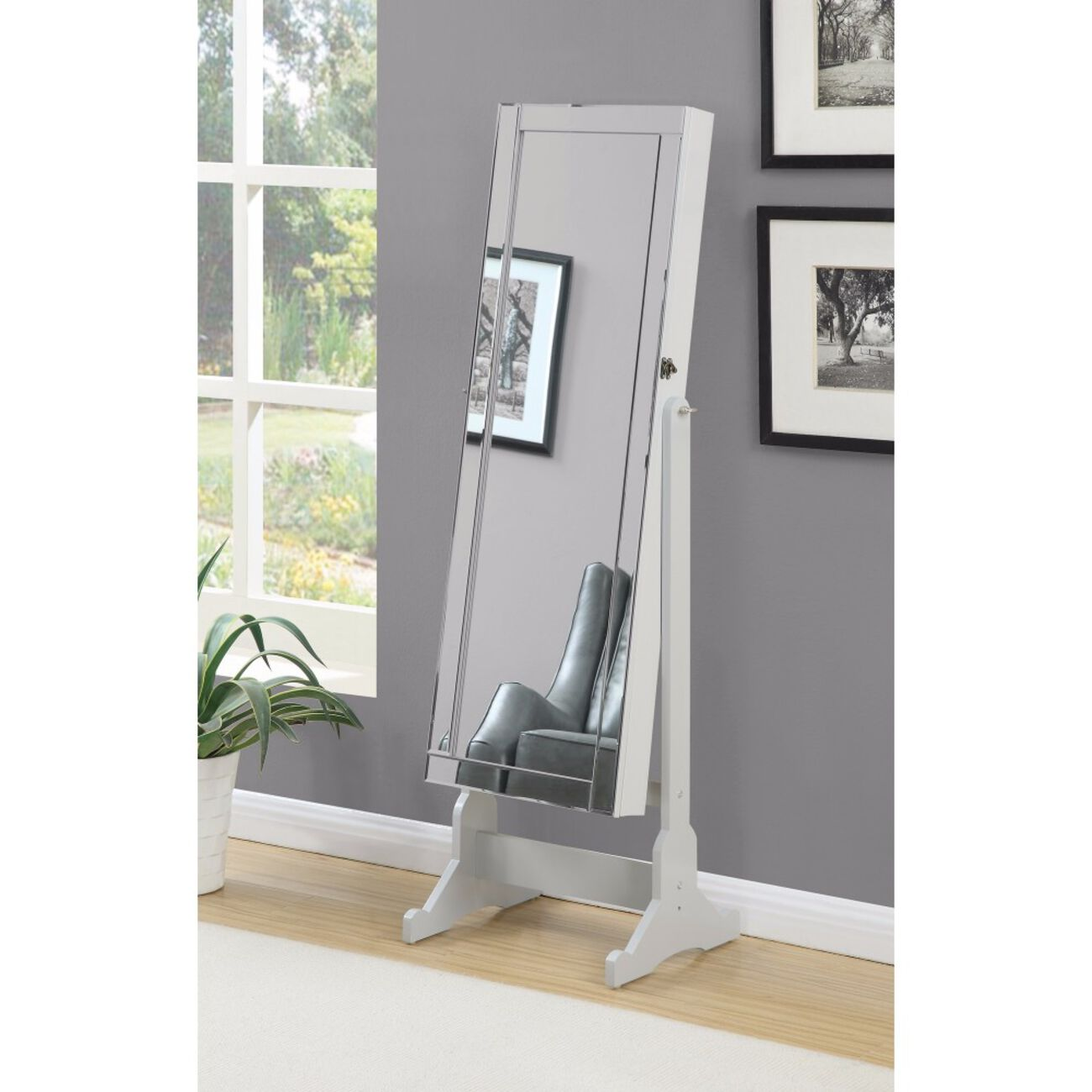 Beautiful  Jewelry Cheval Mirror  With Interior Storage, Gray