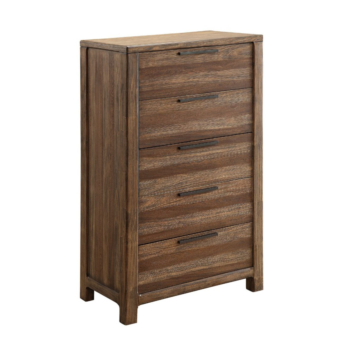 Minimalistic Designed 5- Drawer Chest, Rustic Natural Brown