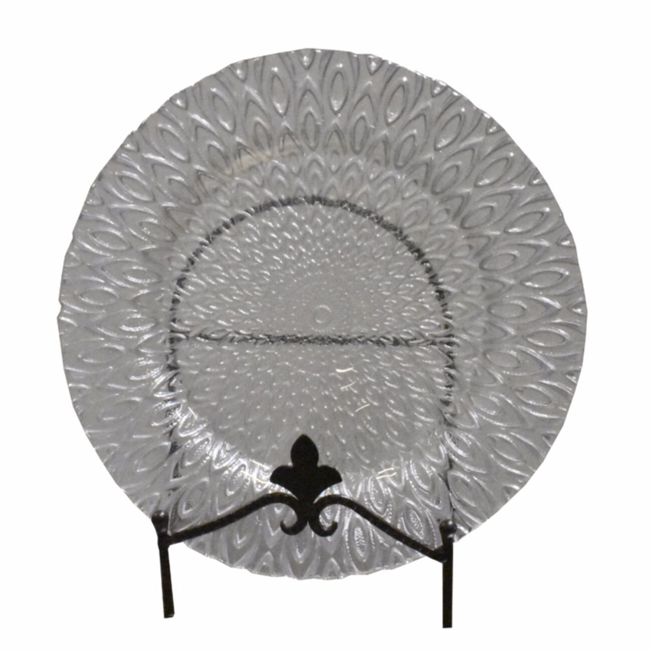 Appealing Glass Charger Plate With Engraved Pattern, Clear