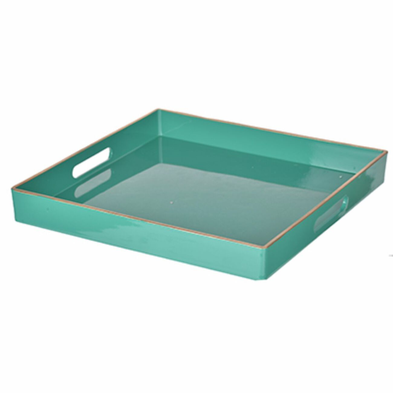 Mimosa Square Tray With Cutout Handles, Green