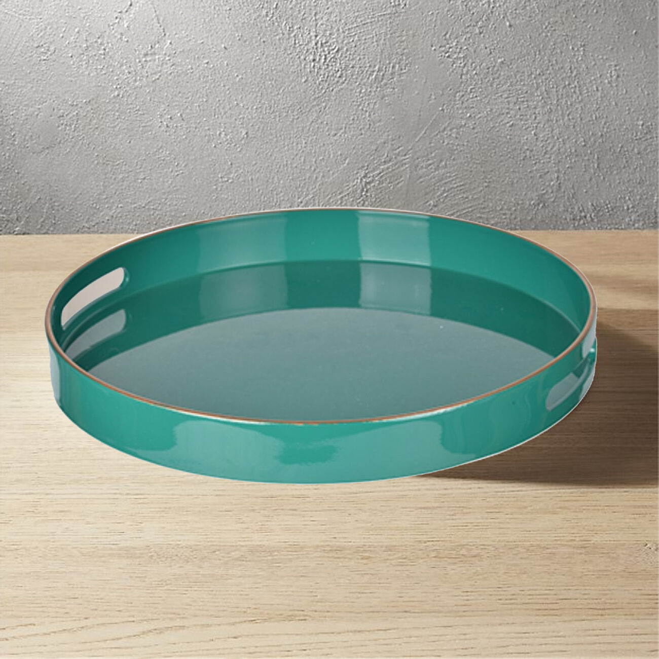 Mimosa Round Tray With Cutout Handles, Green