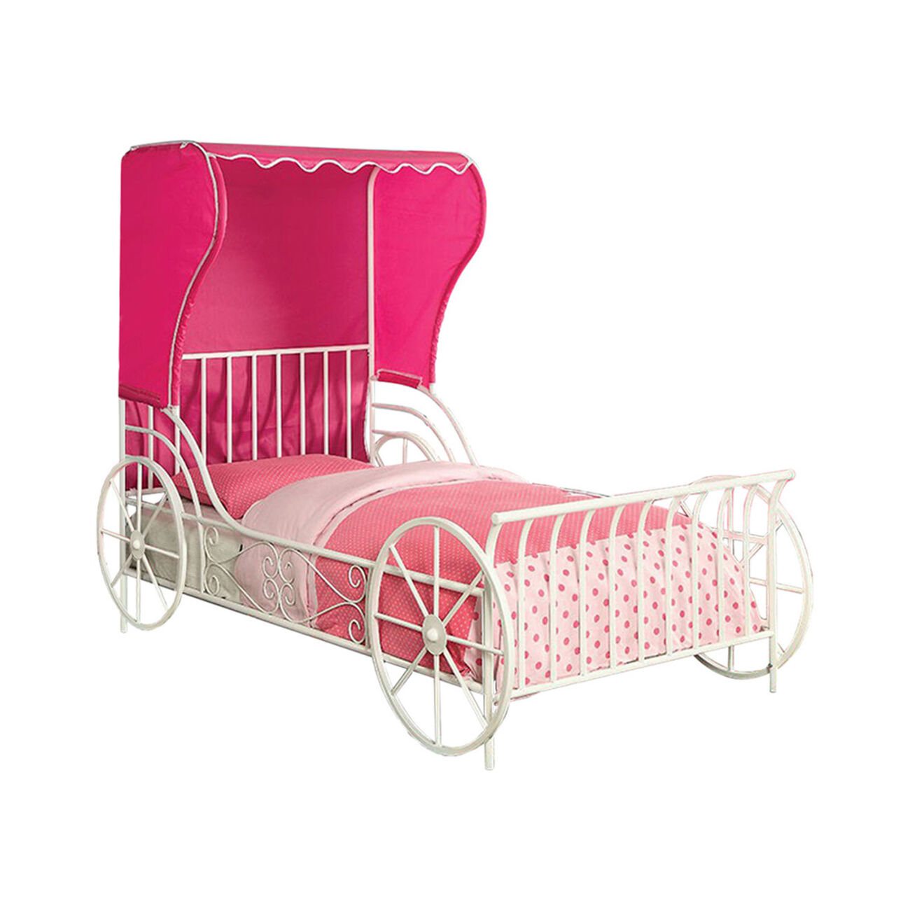 Twin Size Metal Carriage Bed With Pink Wingback Tent, White