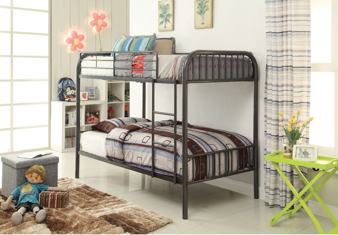 Slatted Design Metal Twin Over Twin Bunk Bed with Attached Ladder, Gray