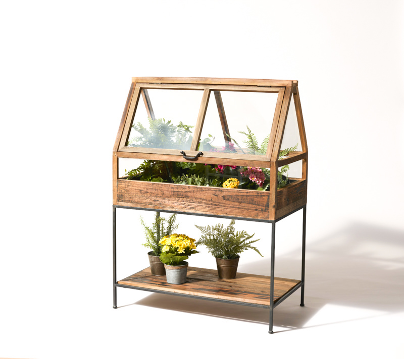 Greenhouse Cabinet on Wood and Iron Stand