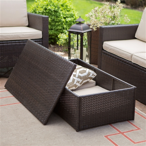 Outdoor Brown Wicker Resin 4-Piece Patio Furniture Dining Set