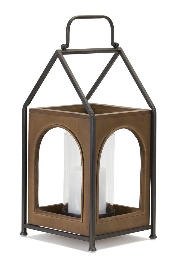 Wood and Black Iron Candle Lantern